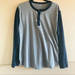 Henley Long Sleeve Gray with Navy Sleeves